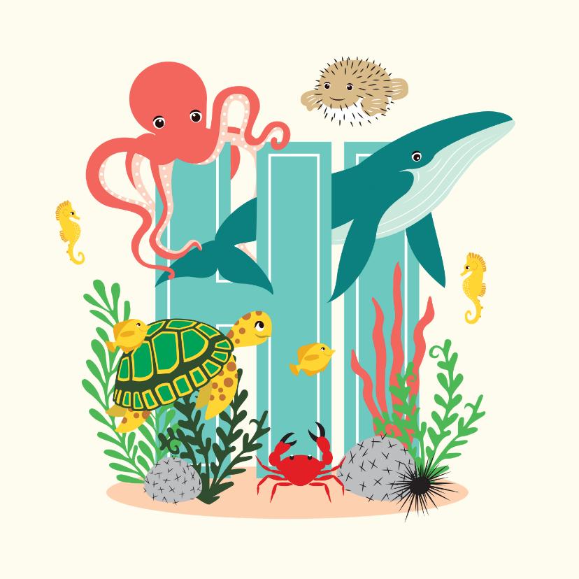 Zomaar kaarten - Zomaar kaartje met lieve dieren uit de zee die hi zeggen