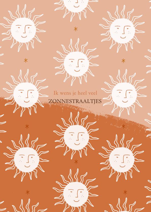 Zomaar kaarten - Zomaar kaartje positiviteit zonnetjes in roest