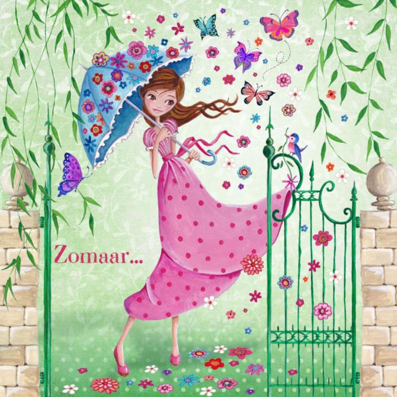 Zomaar kaarten - Zomaar Meisje Bloemen Vlinders Tuin