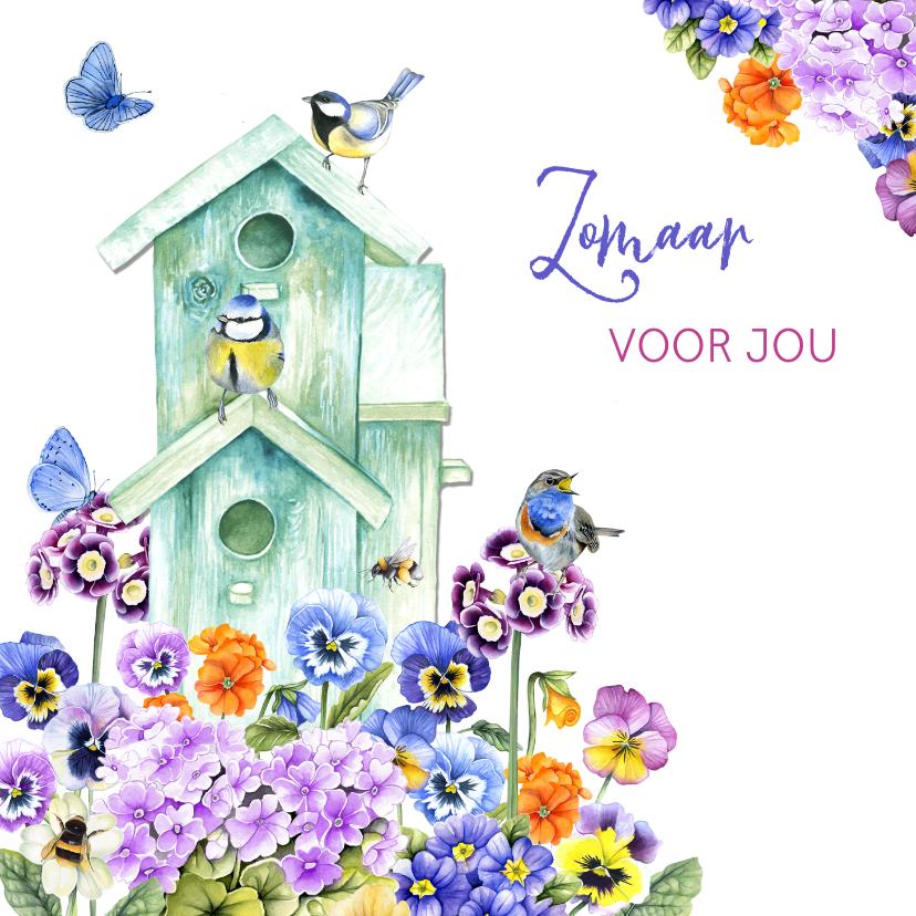 Zomaar kaarten - Zomaar vogelhuisje bloemen