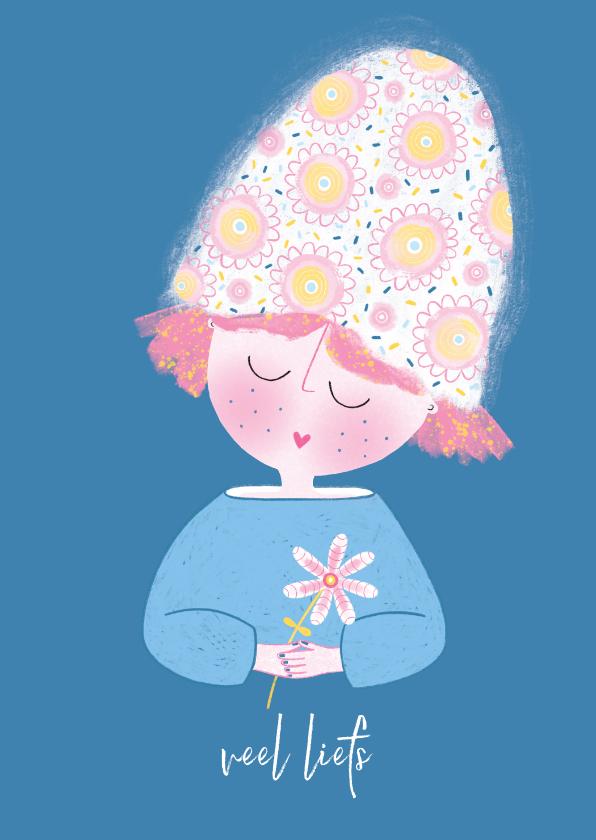 Zomaar kaarten - Zomaarkaart dame bloem blauw