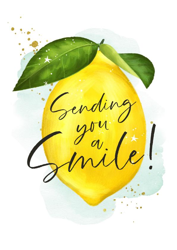 Zomaar kaarten - Zomaarkaart met geïllustreerde citroen en lieve spreuk